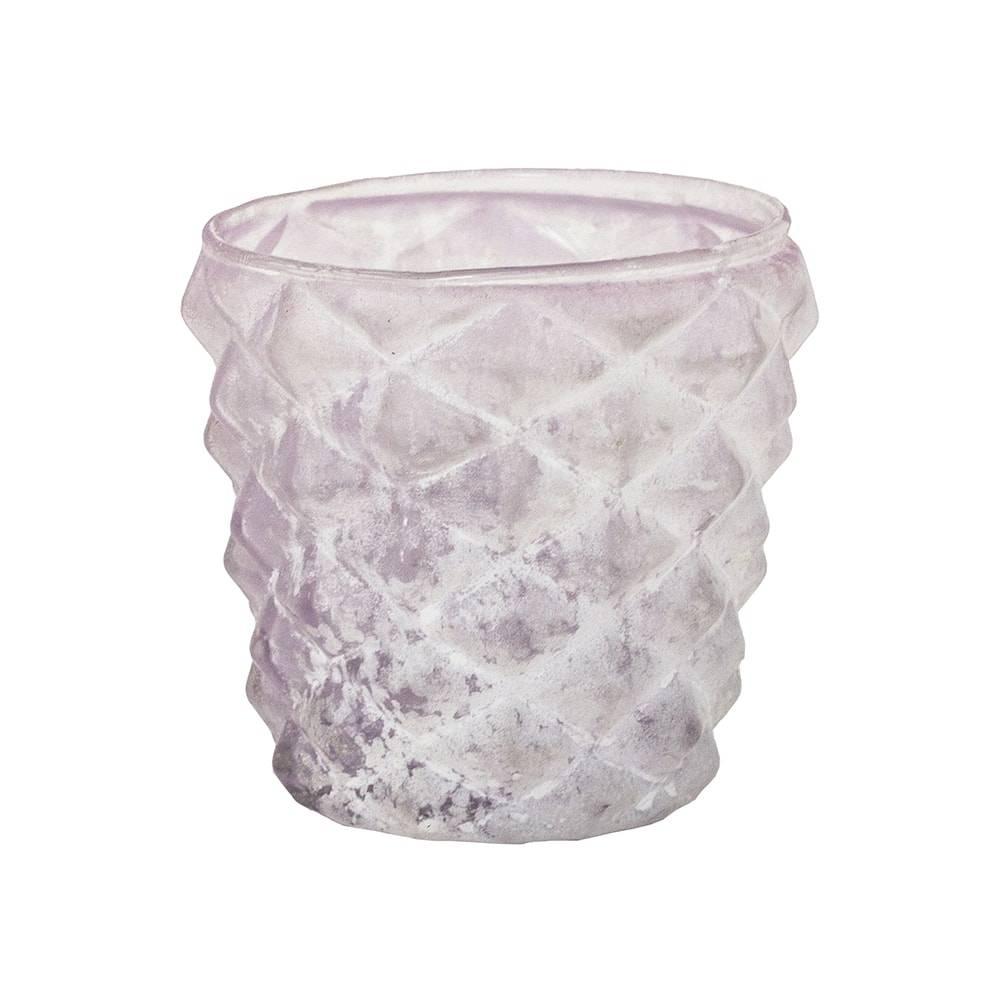 Castiçal Eros Rosa Claro com Relevo em Vidro - 9x9 cm