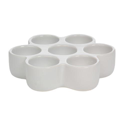 Castiçal Flor Branca - 7 velas - em Cerâmica - 17x4 cm