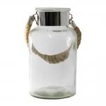 Castiçal Frisia Pequeno em Vidro Transparente - 25x10 cm