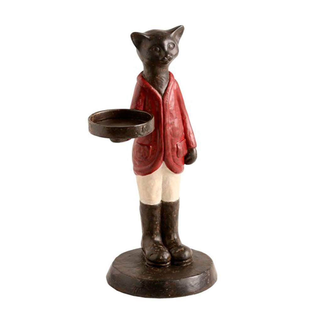 Castiçal de Gato Preto Trajado em Pé em Resina - 31x16 cm