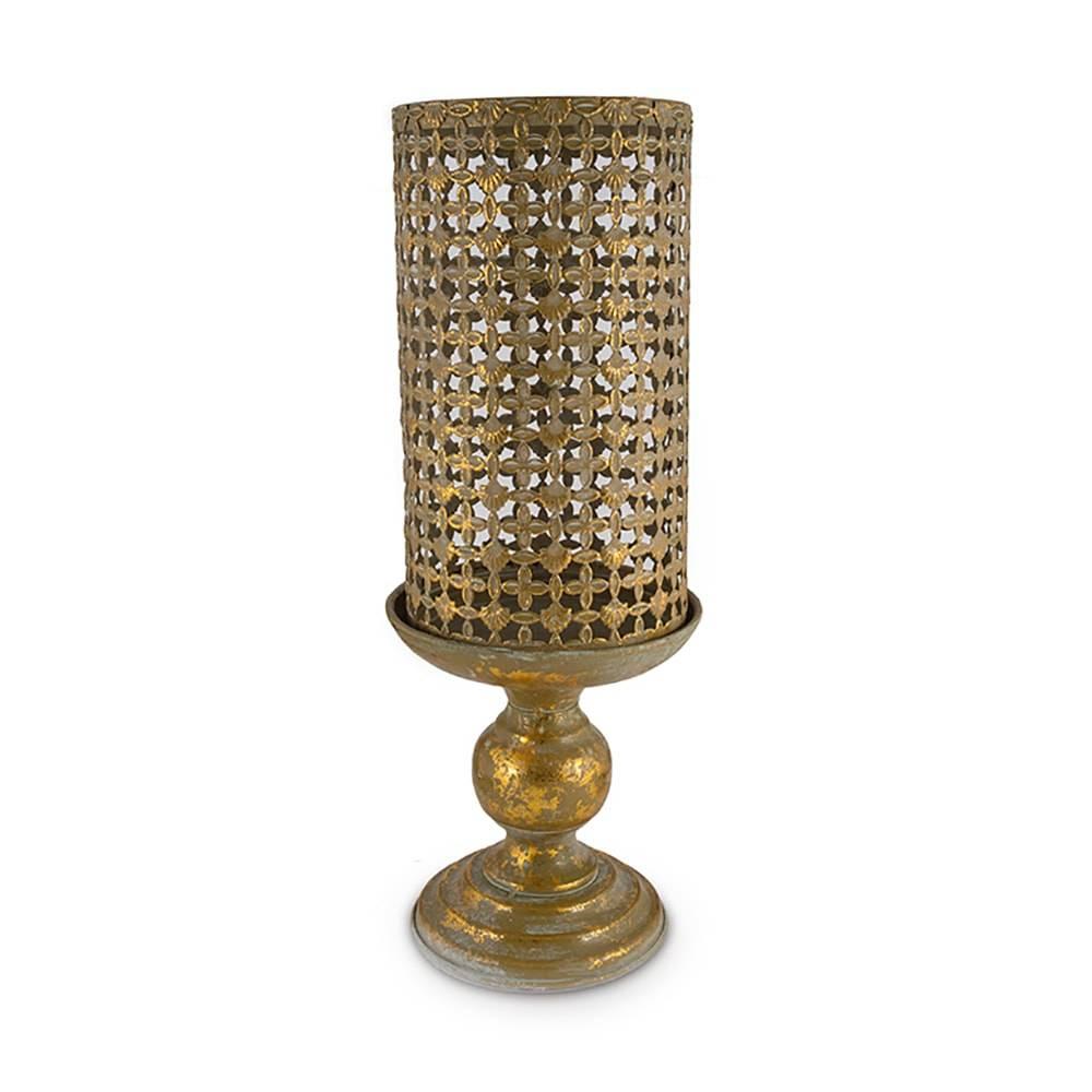 Castiçal Golden Diamond Dourado em Metal - 36x15 cm