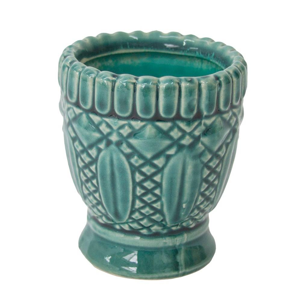 Castiçal Hamptons Curves Azul Pequeno em Cerâmica - 9x8 cm