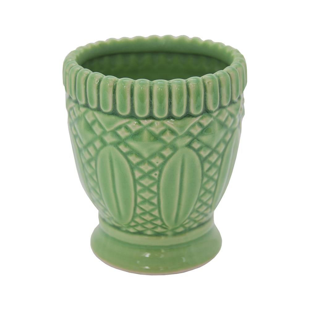 Castiçal Hamptons Curves Verde em Cerâmica - 13x12 cm