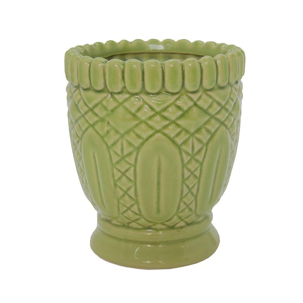 Castiçal Hamptons Curves Verde Claro Grande em Cerâmica - 18x16 cm