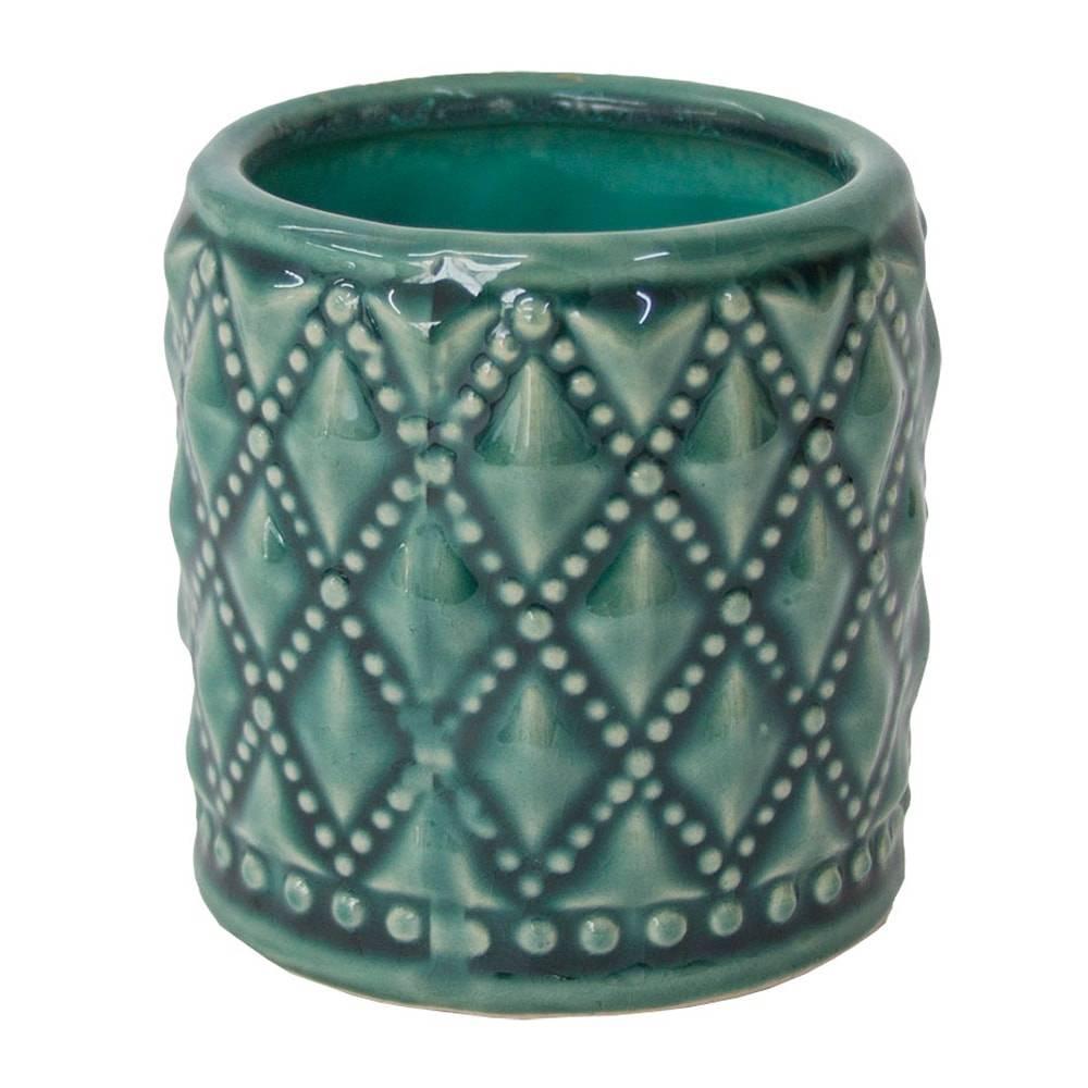 Castiçal Hamptons Straight Verde Pequeno em Cerâmica - 8x8 cm