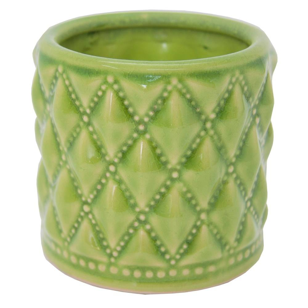 Castiçal Hamptons Straight Verde Claro em Cerâmica - 12x11 cm