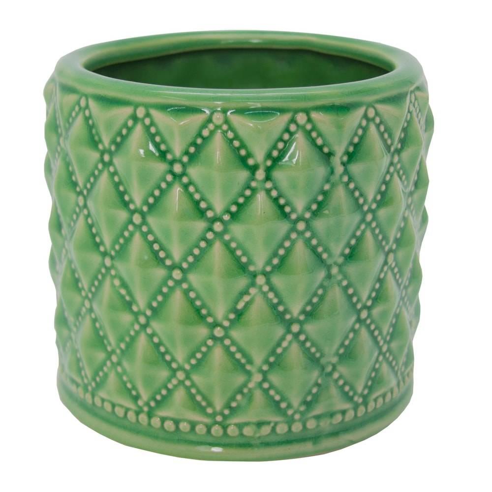 Castiçal Hamptons Straight Verde Grande em Cerâmica - 14x15 cm