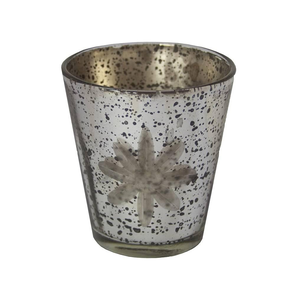 Castiçal Kendra Prateado Pequeno em Vidro - 8x8 cm