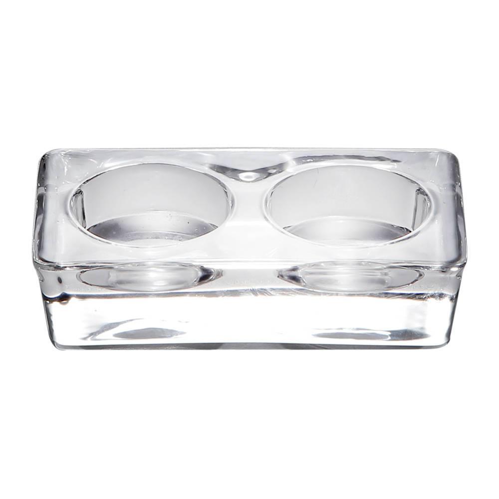 Castiçal Lara Duplo em Vidro - Bon Gourmet - 11x6 cm