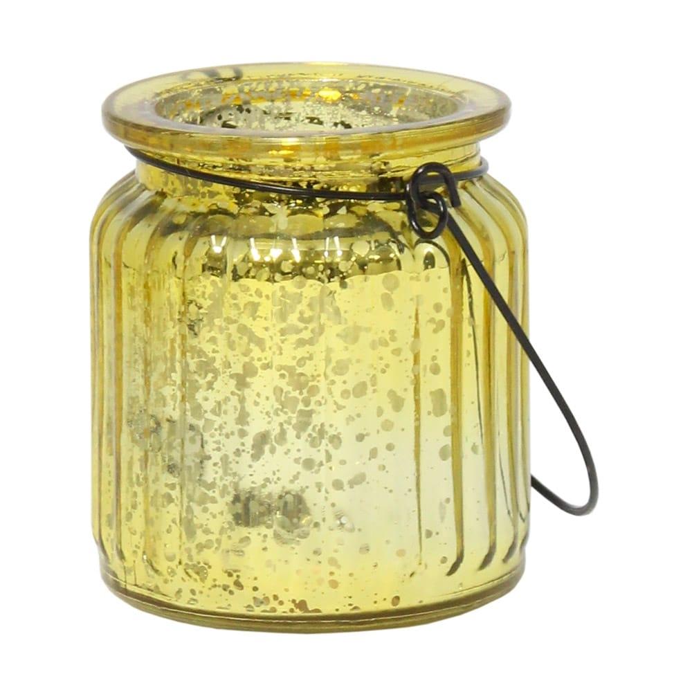Castiçal Lume Amarelo Metálico em Vidro - 9x8 cm