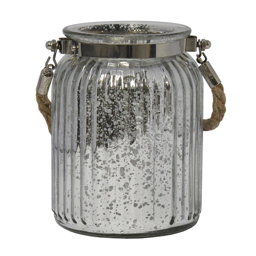 Castiçal Lume Grande em Vidro com efeito Metálico - 15x9,5 cm