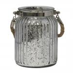 Castiçal Lume Grande em Vidro com efeito Metálico - 15x9 cm