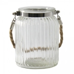 Castiçal Lume Grande em Vidro Transparente - 15x9,5 cm