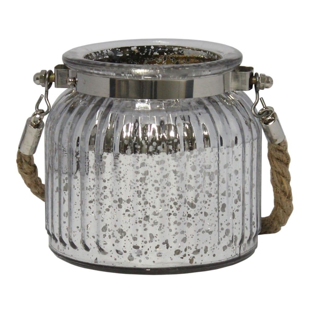 Castiçal Lume Pequeno em Vidro com efeito Metálico - 10x9,5 cm