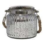 Castiçal Lume Pequeno em Vidro com efeito Metálico - 10x9 cm