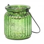 Castiçal Lume Verde Metálico em Vidro - 9x8 cm