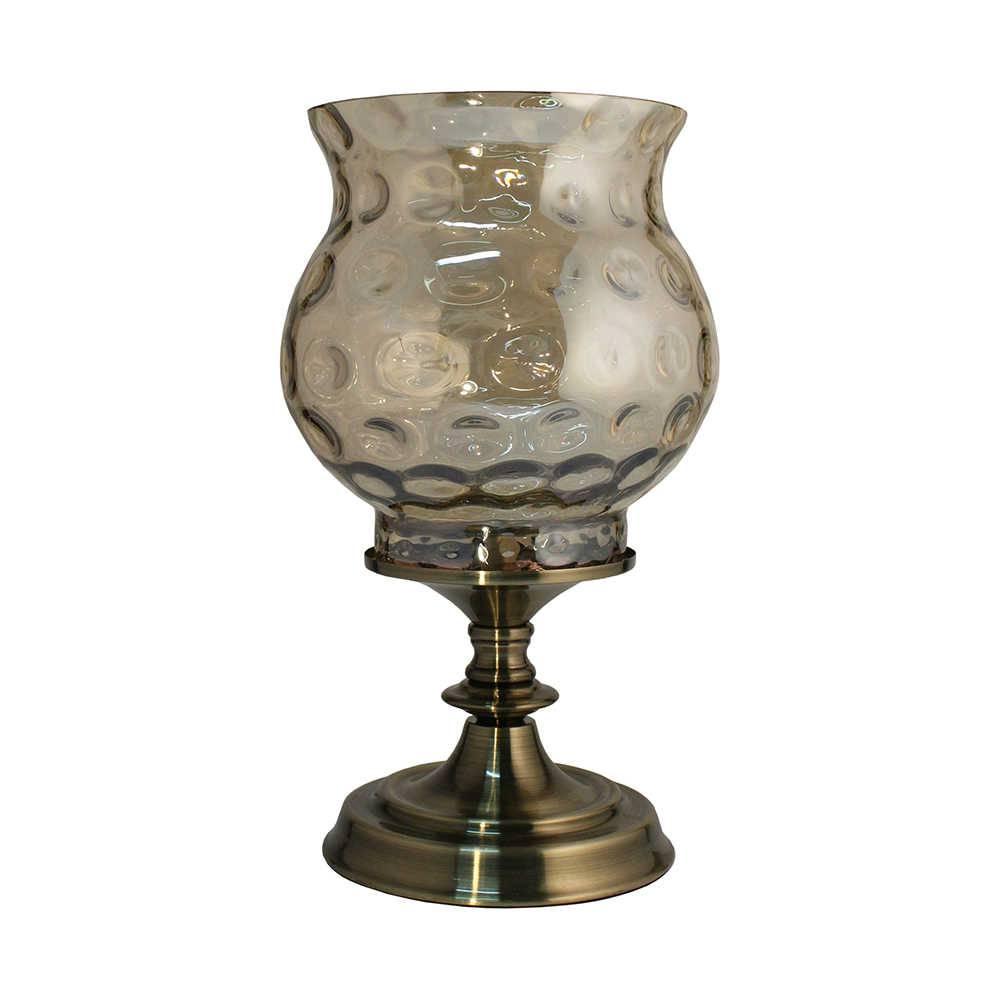 Castiçal Luna Bronze Grande em Metal e Vidro - 36x20,5 cm