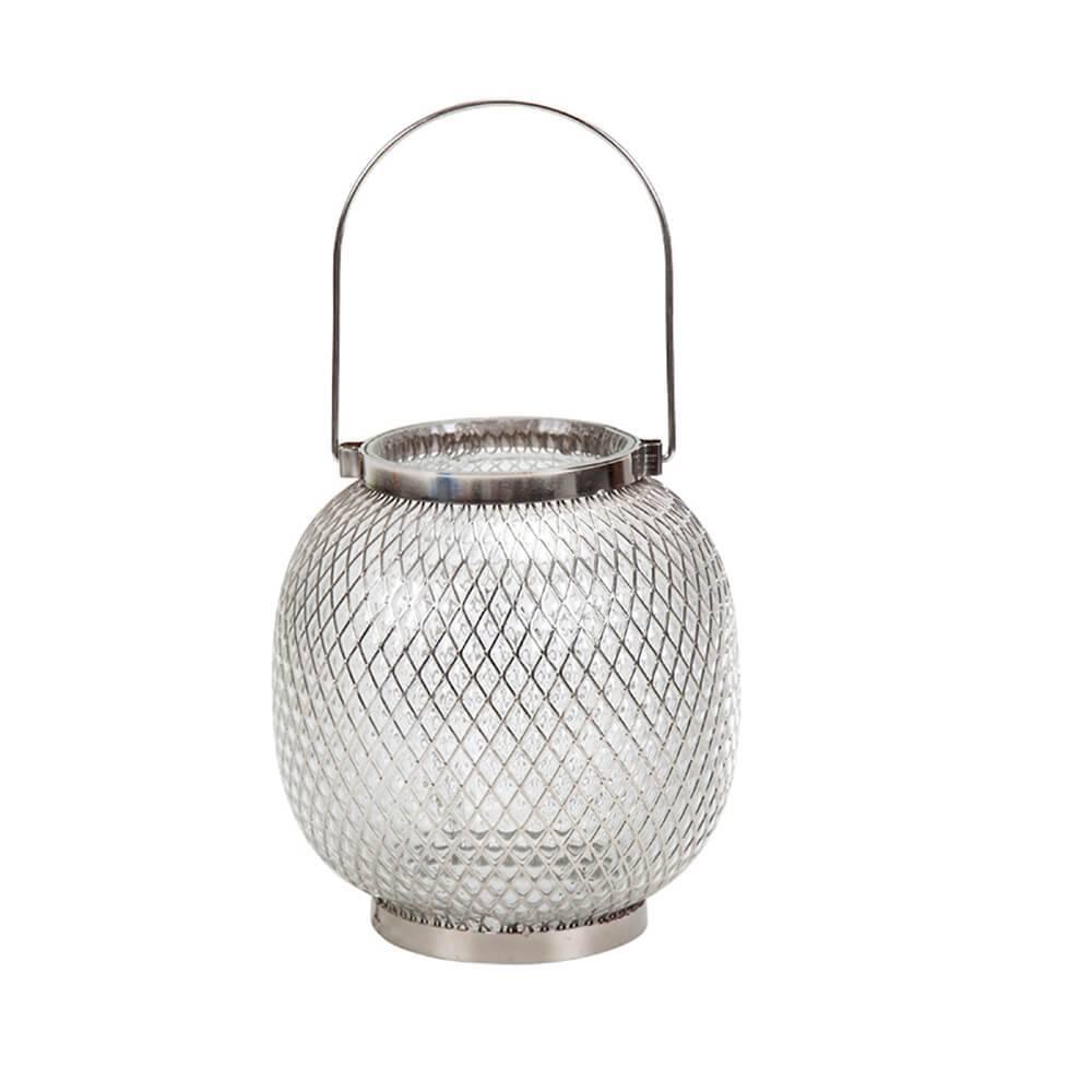 Castiçal Marrocco Cromo Desgastado em Vidro com Metal - Urban - 31,5x16 cm