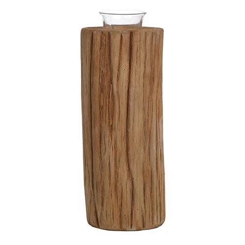 Castiçal Natural Wood em Madeira - 21x9 cm