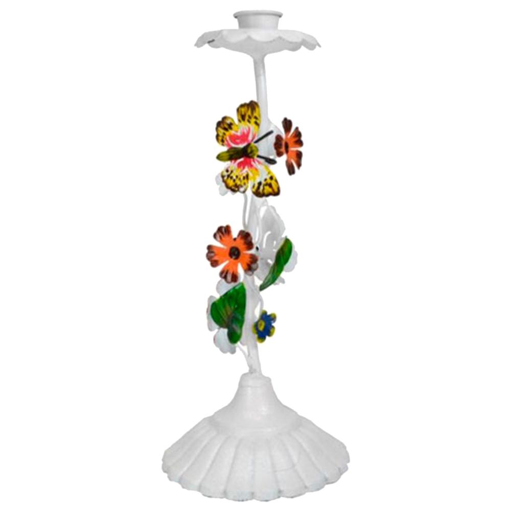 Castiçal Nature - Flores e Borboletas - Branco em Metal - 26x11 cm