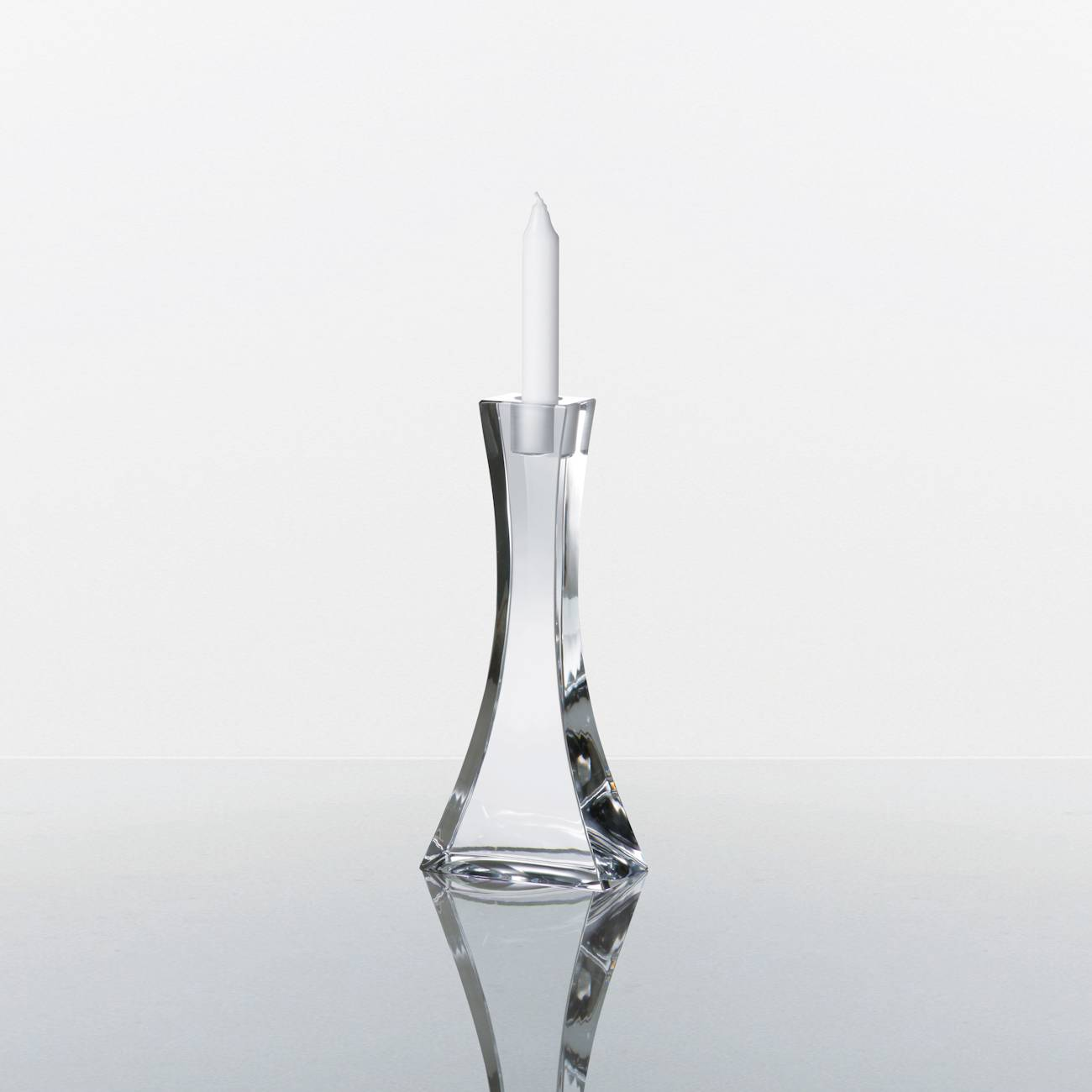 Castiçal Okinawa Transparente em Cristal - Bohemia Crystalite - 25,5x10 cm