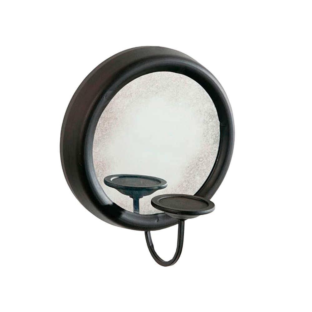 Castiçal de Parede com Espelho e Suporte Para Vela em Metal - 33x29 cm