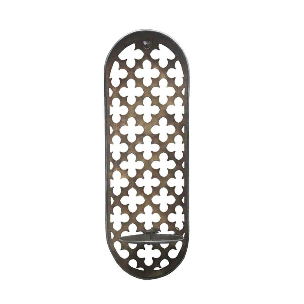 Castiçal de Parede Estrutura Detalhada Marrom em Metal - 37,5x12 cm