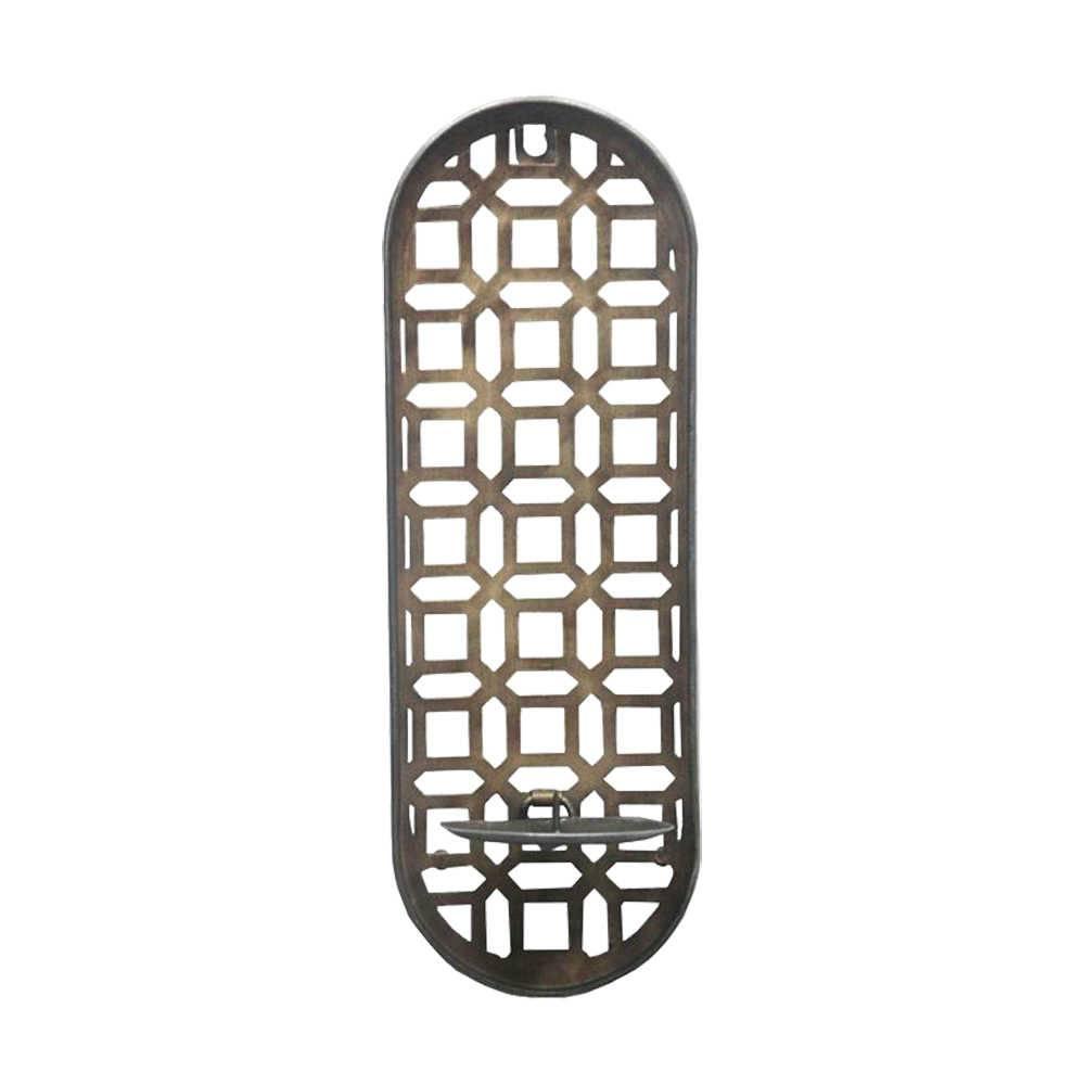 Castiçal de Parede Estrutura Detalhada em Metal - 37,5x12 cm