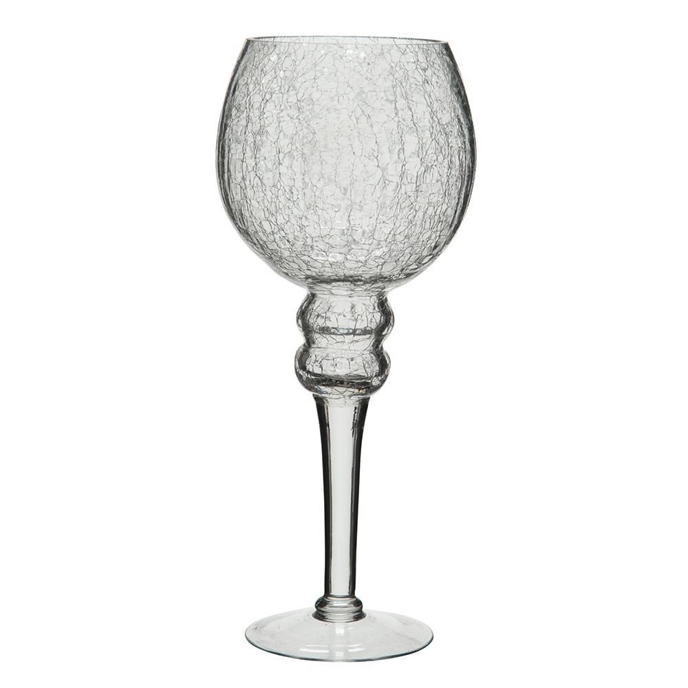 Castiçal com Pé Crackle Grande Transparente em Vidro - 30x12,5 cm