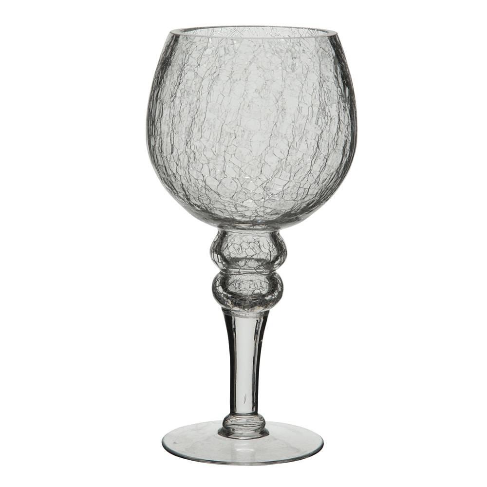 Castiçal com Pé Crackle Transparente em Vidro - 25x12,5 cm