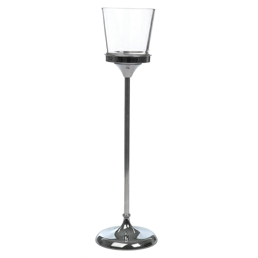 Castiçal com Pé Transparente/Prata Grande em Vidro - 59x16 cm