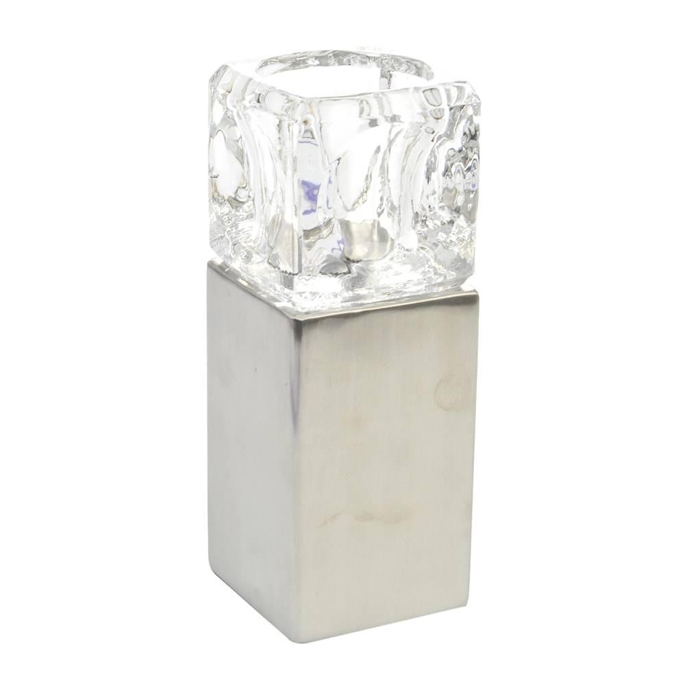 Castiçal Pedestal Cubo de Gelo Grande Transparente em Vidro - 18x7 cm