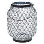 Castiçal Pineapple Preto em Vidro e Metal - Urban - 27x21 cm