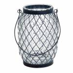 Castiçal Pineapple em Vidro e Metal - Urban - 23,5x17 cm