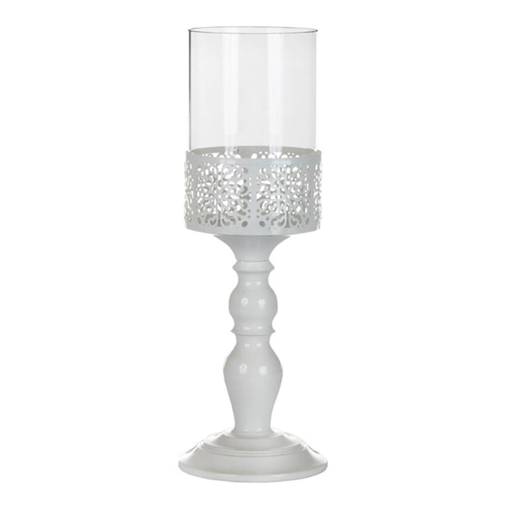 Castiçal Romanian Grande Branco em Vidro e Metal - Urban - 40x12,5 cm