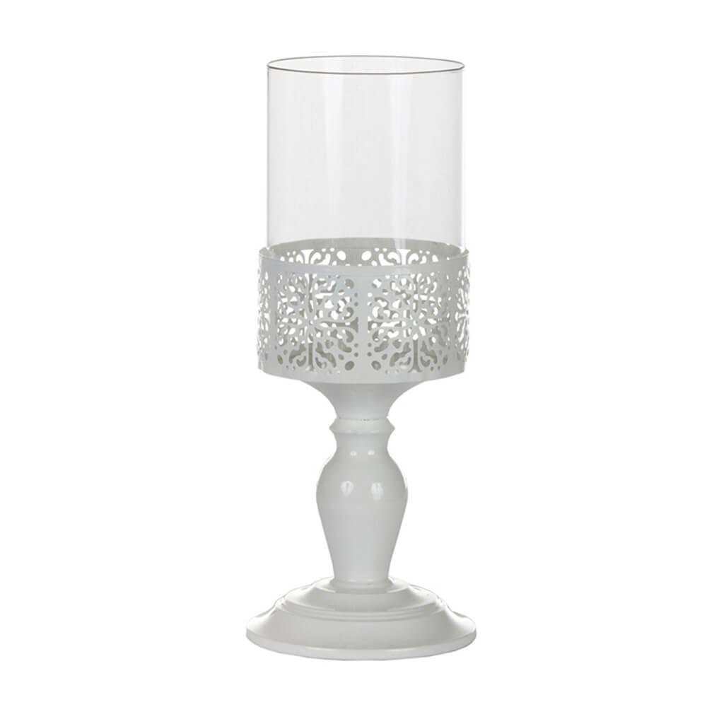 Castiçal Romanian Pequeno Branco em Metal e Vidro - Urban - 33x12,5 cm