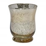 Castiçal Sino Grande Dourado em Vidro - 11x9 cm