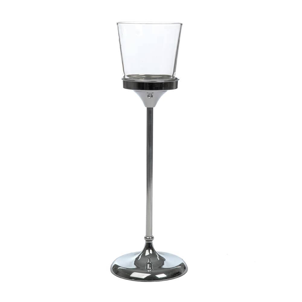 Castiçal Taça Alto Transparente/Prata em Metal e Vidro - 52x16 cm