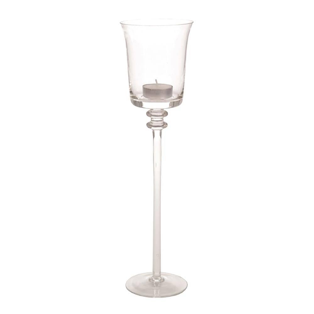 Castiçal Taça Lolla Transparente em Vidro - 35x9 cm