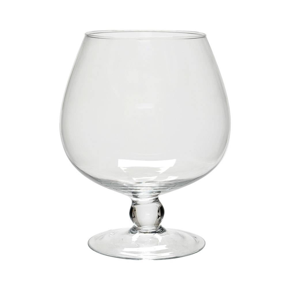 Castiçal Taça Transparente em Vidro - 22x19 cm