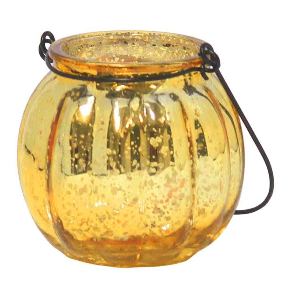 Castiçal Tanger Dourado Metálico em Vidro - 7x6 cm