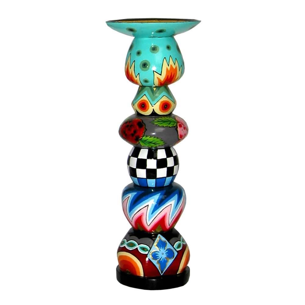 Castiçal Torneado Composê de Estampas Colorido - 32x12 cm