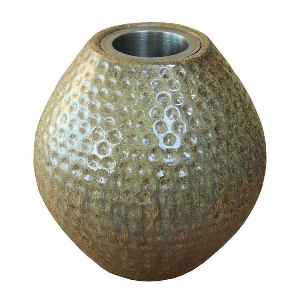 Castiçal Valby Bege em Cerâmica - 22x20 cm