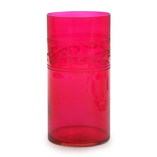 Castiçal/Donzela Grande Rosa em Vidro - 25x12 cm