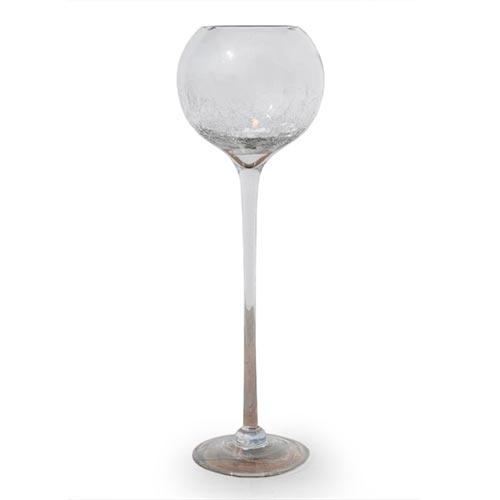 Castiçal/Donzela Taça Crackle Grande em Vidro - 60x20 cm