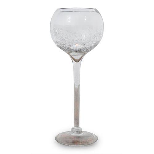 Castiçal/Donzela Taça Crackle Médio em Vidro - 50x20 cm