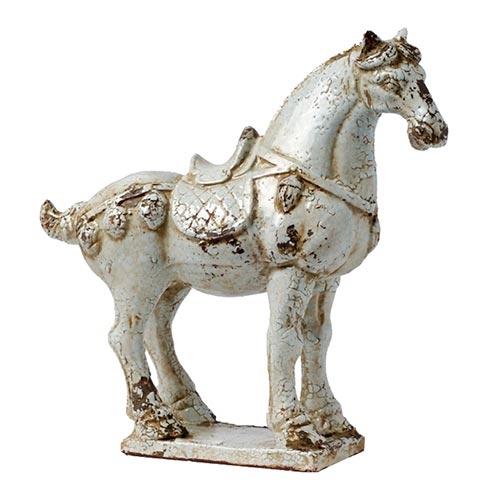 Cavalo Abby Branco em Cerâmica - 43x39 cm