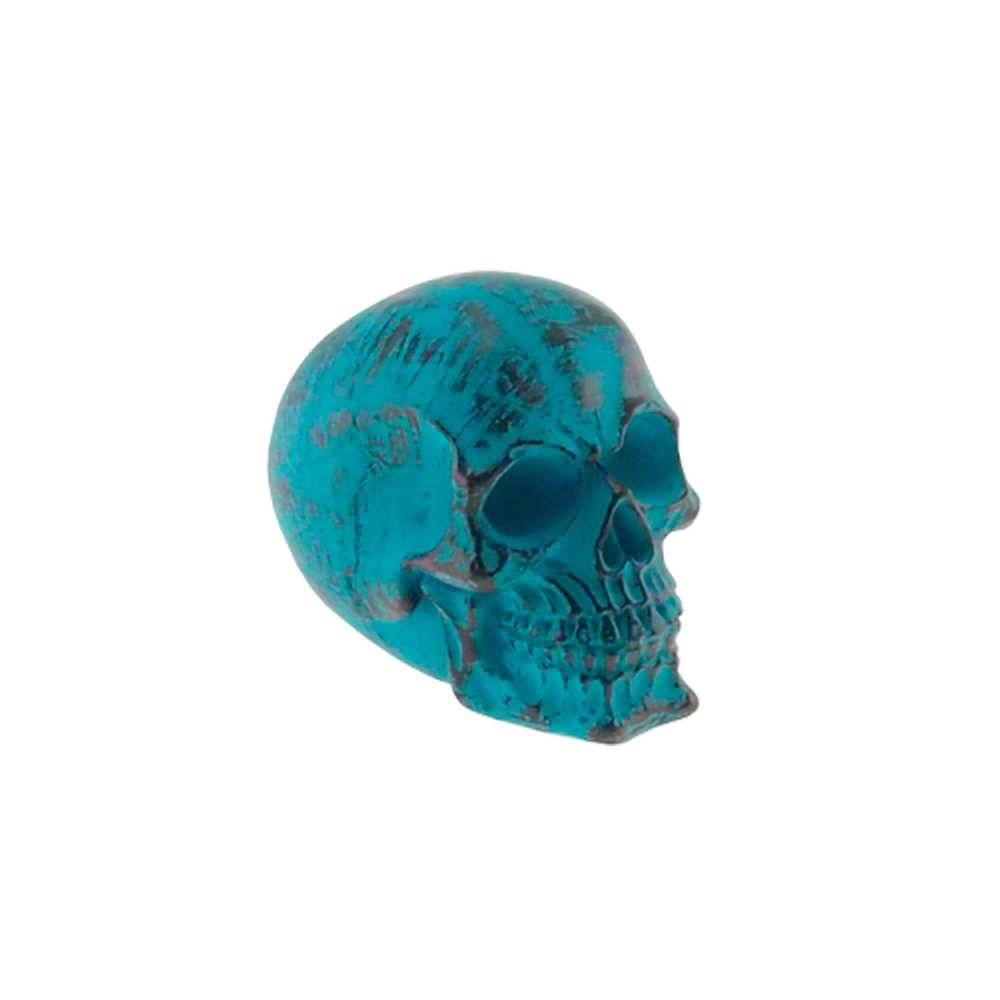 Caveira Decorativa Azul em Resina - 15x12 cm