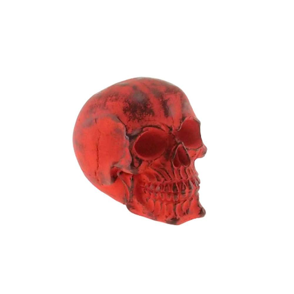 Caveira Decorativa Vermelha em Resina - 15x12 cm