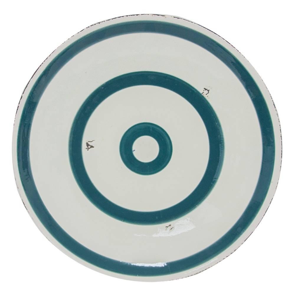 Centro de Mesa Alvo Branco/Azul em Cerâmica - 39x4 cm